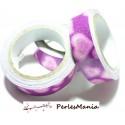 1 Rouleau de masking tape, scotch adhesif coton Paillette ROSE 15mm H07911, DIY