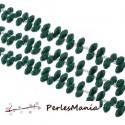 10 perles GOUTTE Verre Facettée 6 par 13 mm Couleur VERT FONCE