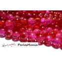 1 fil environ 200 perles de verre craquelé bicolore rouge et rose 4mm couleur 08
