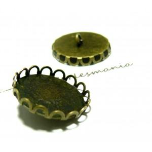 Apprêt bijoux 10 supports 25mm Boutons à coudre vague BRONZE