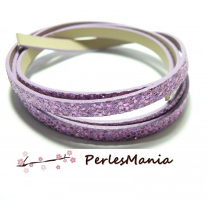 90cm de cordon plat Simili Cuir Paillette sequins ROSE 6mm ref4