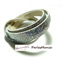 90cm de cordon plat Simili Cuir Paillette sequins ARGENT 10mm ref17
