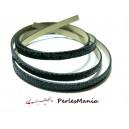 90cm de cordon plat  Simili Cuir Paillette sequins NOIR 6mm ref1