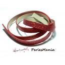 90cm de cordon plat  Simili Cuir Paillette sequins ROUGE 10mm ref23
