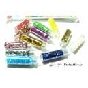12 Mini Fioles tube en verre contenant strass, paillettes. PR161