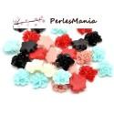 PAX 50 cabochons fleur Résine S1115613 Fleur multicolores , DIY