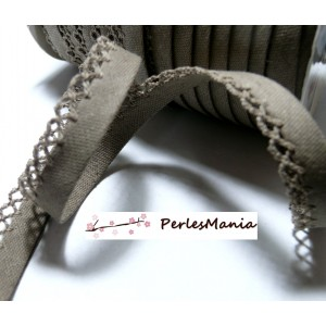 50 cm cordon ruban biais dentelle Lin MARRON 12mm ref 71146 couleur 37