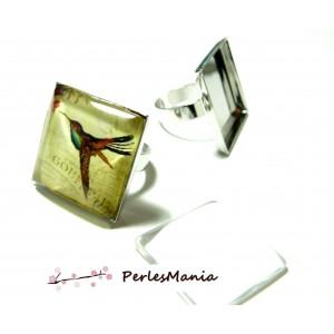 2 pièces: 1 bague PP 25 par 25 mm bague carré qualité SUPERIEURE bord épais et 1 cabochon