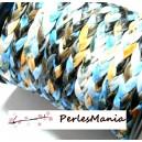 1 Mètre Cordon TRESSE Simili Cuir PLAT 6mm  Ton MIXTE dominant Bleu JP006