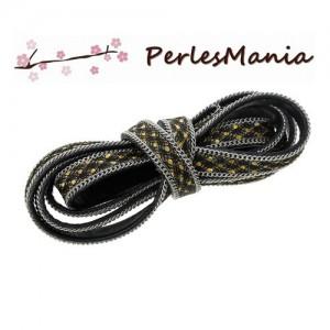 perlesmania.com 1 m/ètre Cordon Simili Cuir Plat Noir 7.5mm H11405