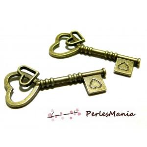 10 pendentifs breloque clé coeur ref 2Y6217 Bronze