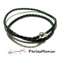 1 Collier Gros diametre 4mm NOIR TRESSE Simili cuir ref 265