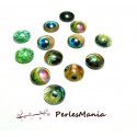 20 CABOCHONS RONDS PAON 12mm EN VERRE DOMES ref 347 , DIY