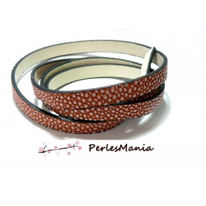 1m de cordon cuir plat 10mm Imitation caviar ORANGE SAUMON, DIY