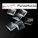 PAX 20 CABOCHONS CARRE 20mm EN VERRE DOMES TRANSPARENTS , DIY