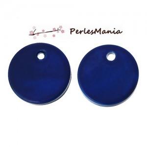 10 PERLES PENDENTIFS NACRES PASTILLES 11mm BLEU NUIT