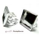 1 Support de bague carré  20mm ARGENT PLATINE anneau dentelle