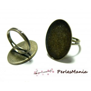 2 bagues double fine plateau OVALE 18 par 25mm Bronze ref 24976