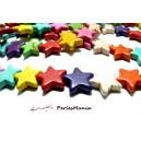 1 fil d'environ 24 étoiles turquoise reconstituées multicolores 19mm  HG14205