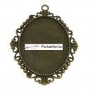 4 pendentif ARTY  Camé Ovale MISS 30 par 40mm  ref 135 Bronze