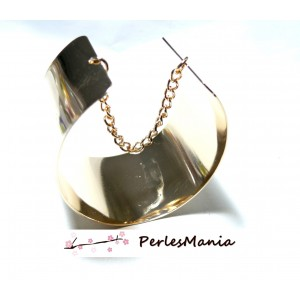 1 bracelet MANCHETTE avec chainette DORE 40mm REF33547, DIY