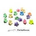 50 cabochons fleur Résine Fleur multicolores PASTEL 11mm H3211, DIY