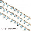 50 cm chaine Perles de rocaille 2mm BLEU CIEL et chaine OR, ref 39