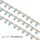 1m chaine Perles de rocaille  2mm BLEU CIEL  et chaine OR, ref 39