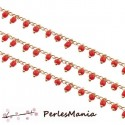 1m chaine Perles de rocaille 2mm ROUGE et chaine OR, ref 36