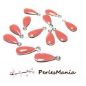 20 sequins médaillons émaillés BIFACE GOUTTE 13mm ROSE CORAIL ref53, DIY