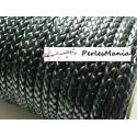 1 m CORDON tressé simili cuir HN1123 PLAT NOIR qualité superieure 6 par 2,4mm, DIY