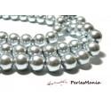 1 fil d'environ 140 perles de verre nacré GRIS  6mm PB97