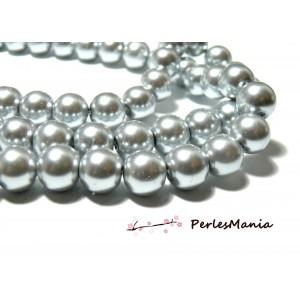 1 fil d'environ 85 perles de verre nacré GRIS  10mm PB97