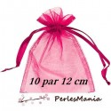30 pochettes organza rose fushia MM ( 10 par 12 cm )