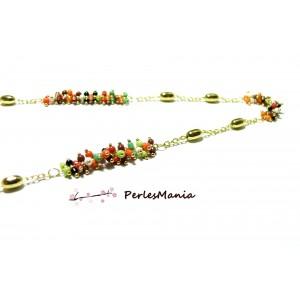 20 cm Chaine Laiton DORE et perles de verre, rocaille Multicolore GRAPPE ref 32