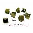 200 GRIFFE PINCE ATTACHE RUBAN  8mm BRONZE embouts, serre fils