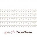 1m Chaine Laiton  ARGENT PLATINE et perles de verre, rocaille BLANC 2mm ref 25