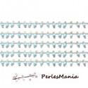 1m Chaine Laiton ARGENT PLATINE et perles de verre, rocaille BLEU CIEL 2mm ref 22