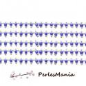 1m Chaine Laiton ARGENT PLATINE et perles de verre, rocaille BLEU NUIT 2mm ref 26