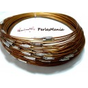 2 COLLIERS Tours de cou Rigides CABLES 1mm CARAMEL couleur  7 ref 6