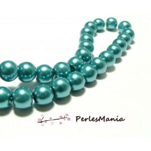 1 fil environ 85 perles de verre nacre BLEU petrole 10mm ref H1152