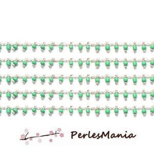 50cm Chaine Laiton ARGENT PLATINE et perles de verre, rocaille VERT CLAIR 2mm ref 24