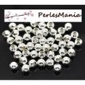 100 perles METAL intercalaires rondes lisse 4mm ARGENT VIF, DIY