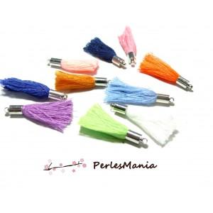 10 pompons passementière MIXTE fil de coton ARGENT LISSE S1176855