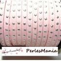1 ROULEAU DE 18 mètre de suédine à ETOILES rivets argentées ROSE PALE H609, 5 par 2mm, DIY