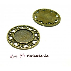 10 pendentifs ARTY ROND COEUR BRONZE ref245