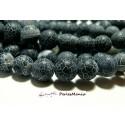 10 perle agate craquelée 12 mm agate veine de dragon NOIR mat givré