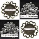 20 pièces: 10 pendentifs CONNECTEUR ARTY FLEUR BRONZE ref241 et 10 cabochons en 14mm