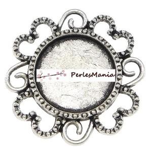 2 pendentifs CONNECTEUR ARTY FLEUR VIEIL ARGENT ref240