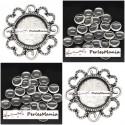 20 pièces: 10 pendentifs CONNECTEUR ARTY FLEUR VIEIL ARGENT ref240 et 10 cabochons en 14mm
